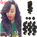 Peruvian Virgin Hair With Closure 7A Peruvian Virgin Hair Weave 3Pcs Body Wave Nature Color Hair With Closure Queen Love Beauty