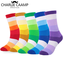charlie caamp 5Pairs/lot Autumn Winter Cotton Large Size Rainbow Tube Socks
