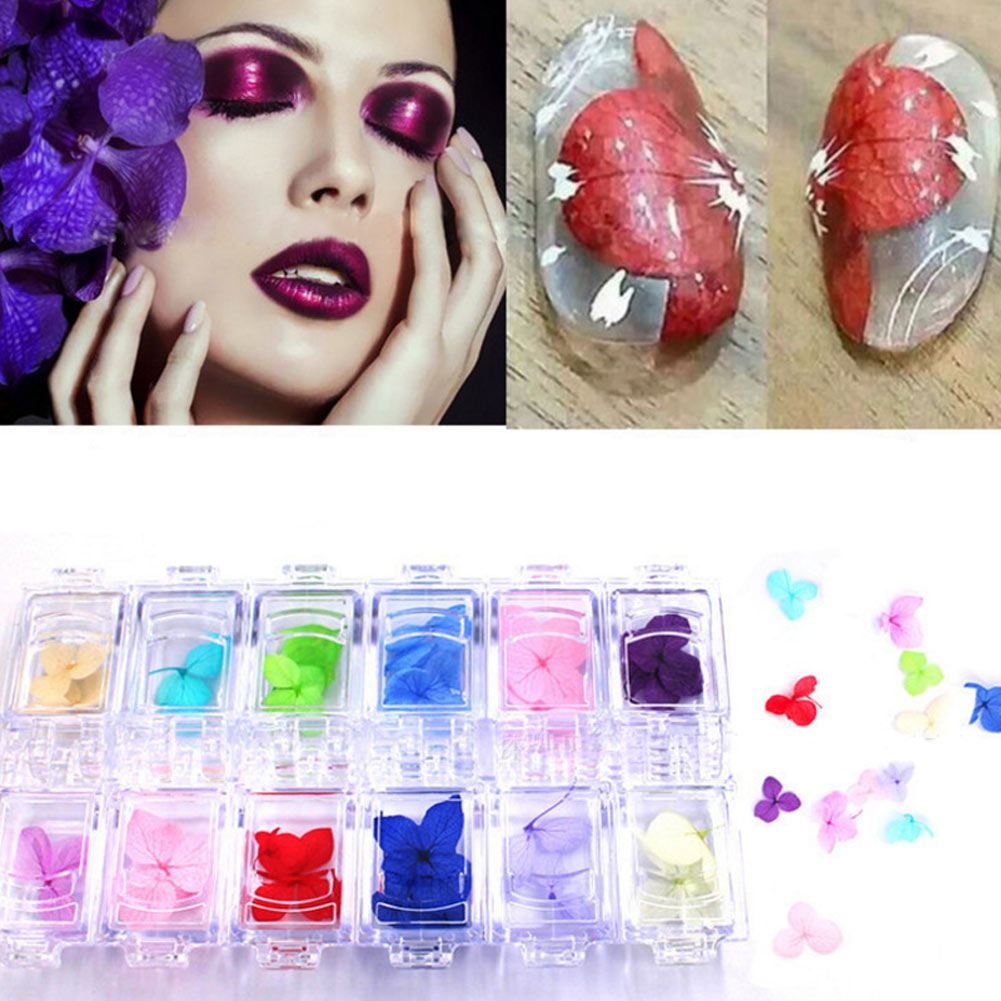 12 Colors 3D Dried Flower Stickers Set Real Dry Petal Design UV Gel Nail Art Polish Tips Decoration DIY Manicure Tools @