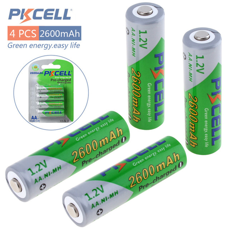 4pcs PKCELL Remote control Battery NIMH AA 2600Mah 1.2V 2A Ni-Mh Rechargeable Batteries AA Bateria Baterias for Digital camera