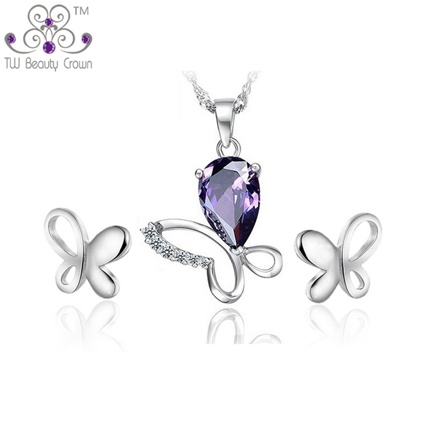 39fa08decd2 Genuine 925 Sterling Silver Luxury Purple Butterfly Big Pendant Necklace  Earrings Fashion Wedding Jewelry Sets Anniversary Gifts