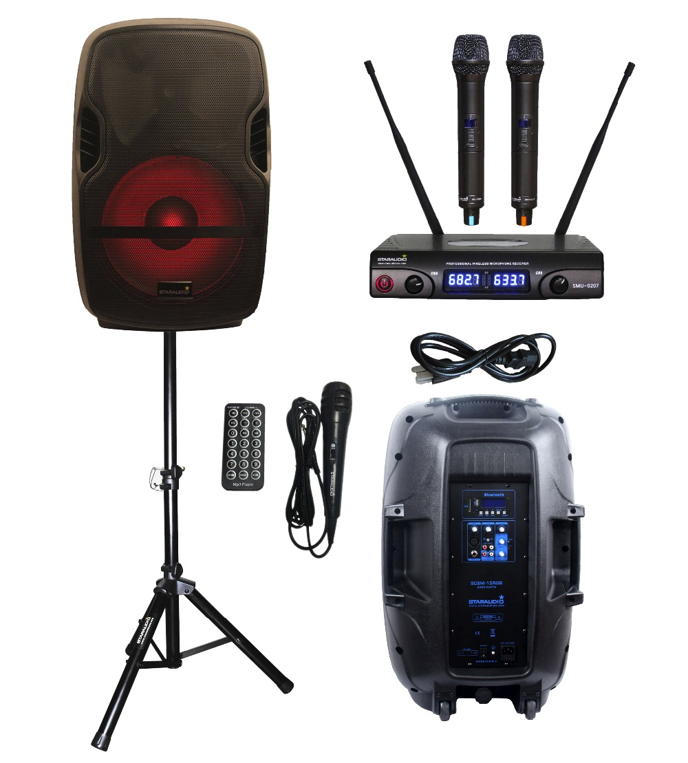 STARAUDIO 15 2000W SCSM-15RGB Portable PA DJ KTV Stage Karaoke Powered Active BT USB MP3 Speaker With LED Light Stand 2CH MIC