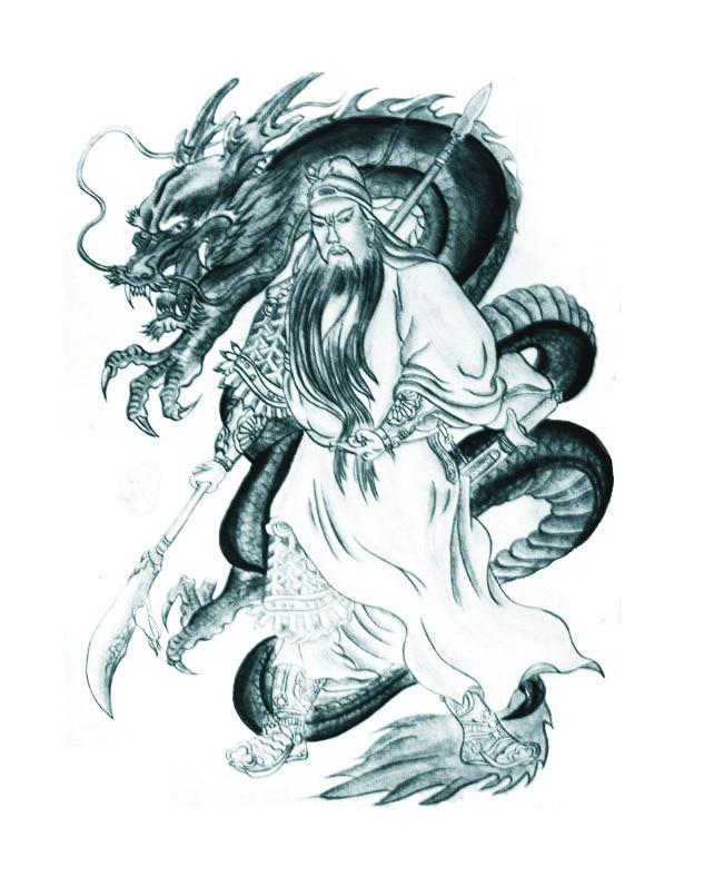 Starożytne Chińskie Znaki Smok Guan Gong Z Navy Władcze