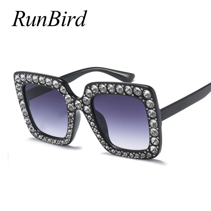 RunBird Rhinestone Square Frame Big Sunglasses Women Luxury Brand Black Pink Oversized Sun Glasses for Women Fashion UV400 1150R