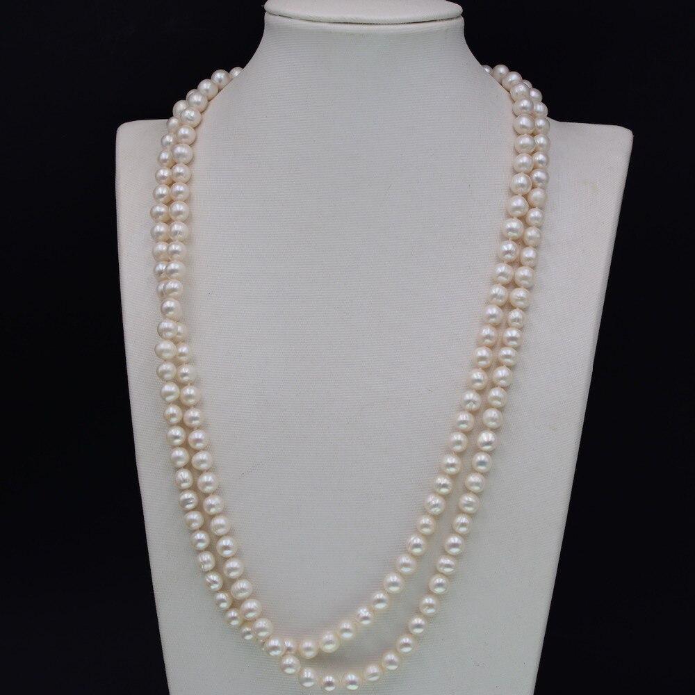 Gros nouveaux Styles Vintage Bijoux amour 120mm Long perle d'eau douce chandail collier Boho fête Bijoux femme