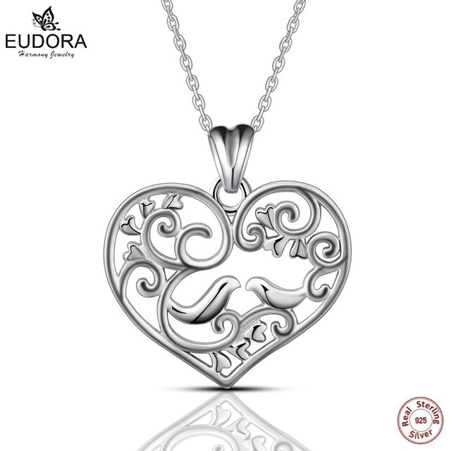 Aliexpress buy cyd039 eudora 925 sterling silver bird stand in cyd039 eudora 925 sterling silver bird stand in the tree pendant necklace women fashion heart jewelry mozeypictures Image collections