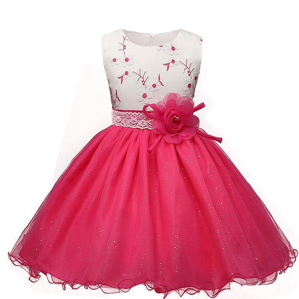 Girl Embroidered Lace Dress Elegant Princess Dress Rose Belt Decoration Suitable for 4-10 years old children's wear embroidered rose applique lace halter bralette