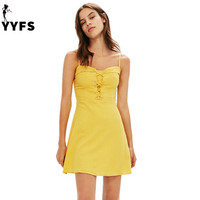 Fashion Brand Yellow Color Spaghetti Strap Mini Dress High Waist Sexy Camis A Line Dresses Women