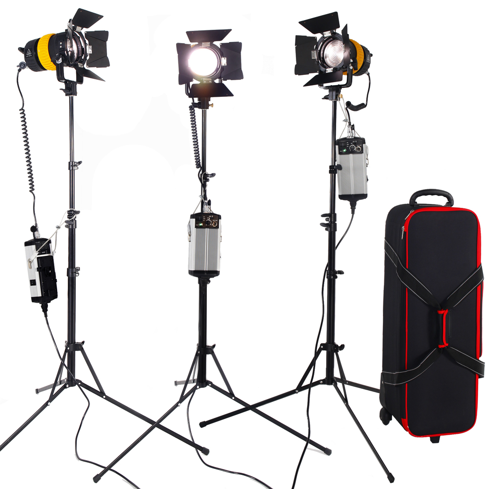 3PCS LED Spotlight Bi-color 80W With 2.1M Light Stand High CIR V Mount Lock For Camera Studio Photo Video Continuous Lighting