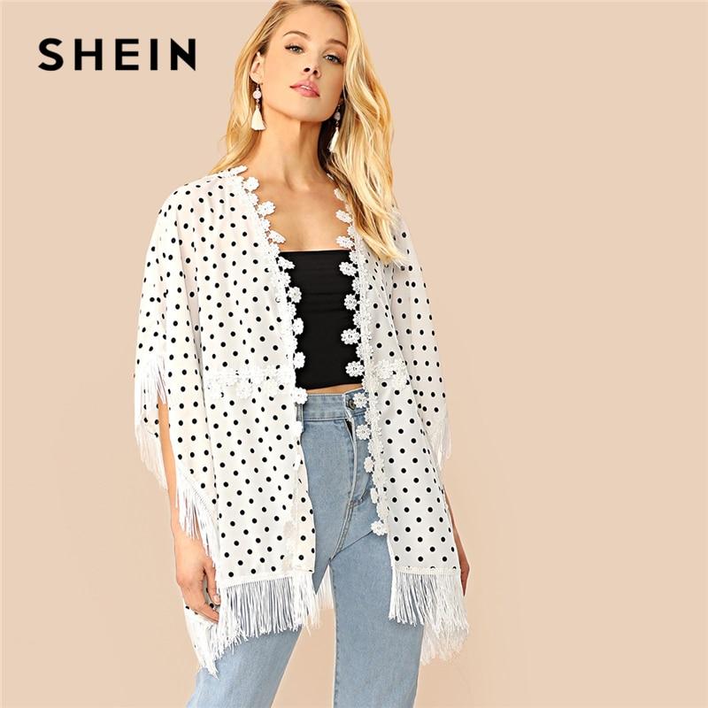 Shein Bohomian Black And White Fringe And Lace Trim Polka Dot Kimono Women Half Sleeve Longline 2019 Spring Kimono Exquisite Traditional Embroidery Art Women's Clothing