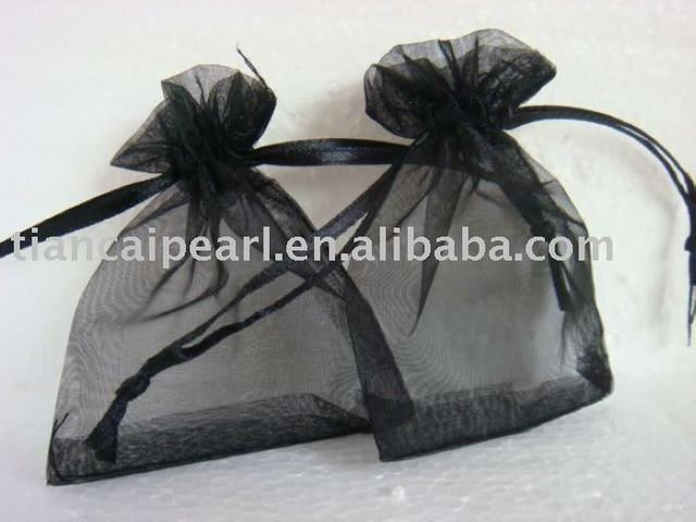 2017---free shipping  100 pcs  wholesale  black   color     Organza Jewelry Wedding Gift Bag (13X18MM)