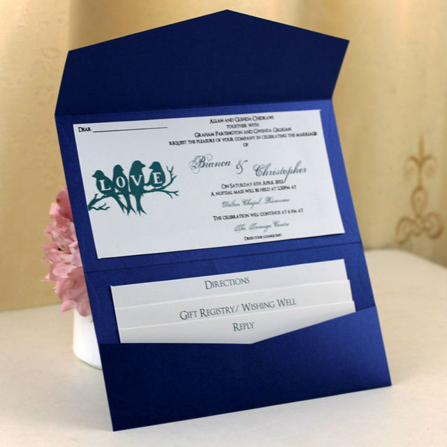 Hot in america love birds navy blue pocket wedding invitations love birds navy blue pocket wedding invitations with rsvp card filmwisefo