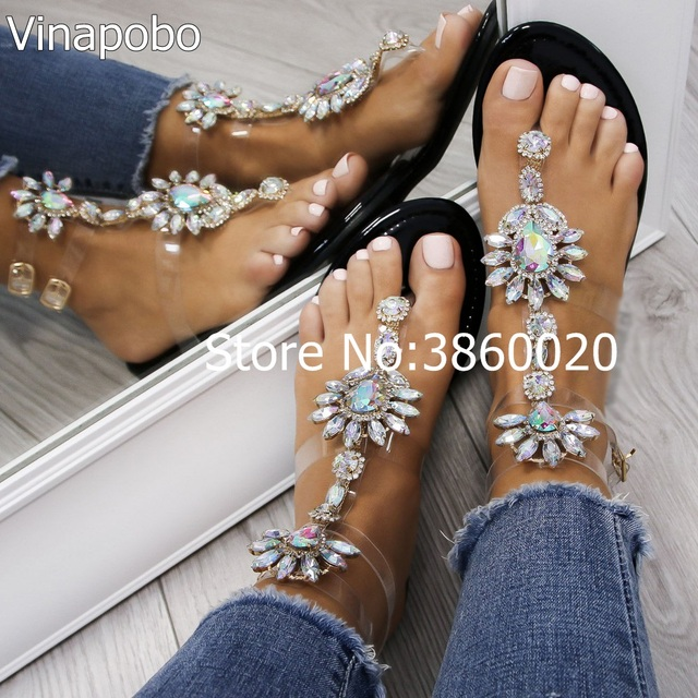 2018 shoes woman sandals women Rhinestones Chains Flat Sandals plus size  Thong Crystal Flip Flops sandals gladiator sandals cdf36d4877ab