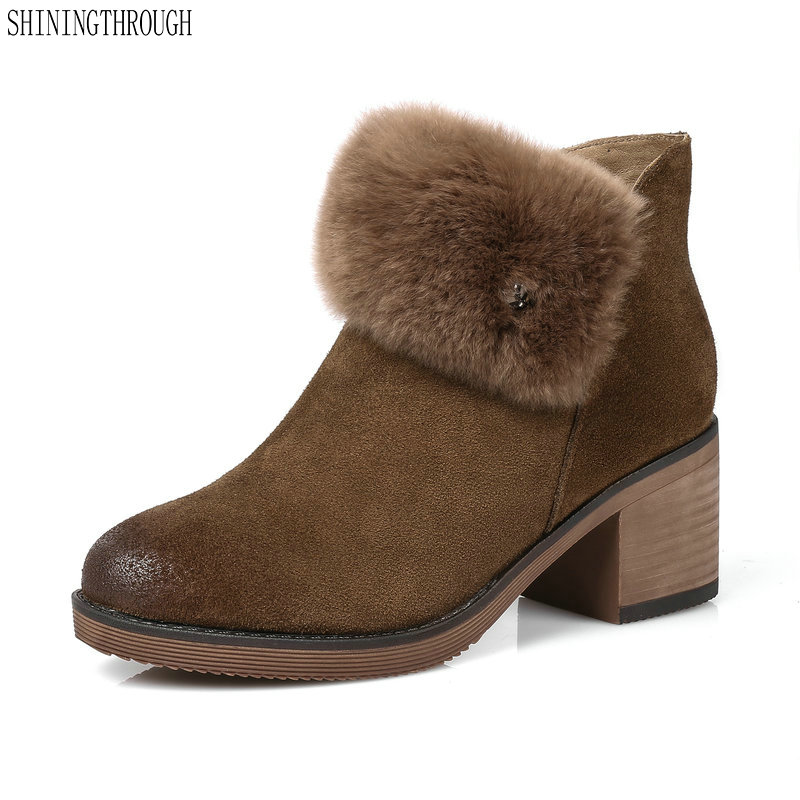 New genuine leather women snow boots thick high heels shoes woman black brown fur casual women ankle boots large size 42 43 цены онлайн
