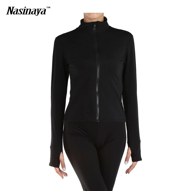 ФОТО Customized Costume Solid Black Color Ice Jacket Skaitng Figure Skating Tops Gymnastics Warm Fleece Adult Child Girl Clothing