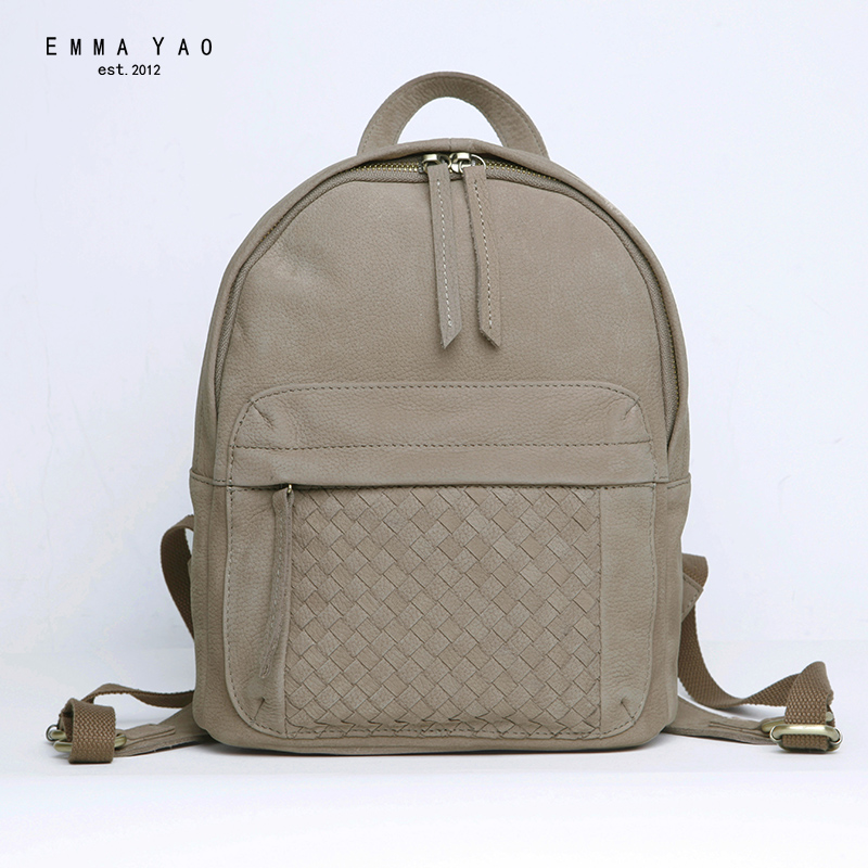 EMMA YAO Women s Leather backpack brand mini bag Japanese style travel