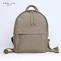 EMMA YAO Women S Leather Backpack Brand Mini Bag Japanese Style Travel Bag