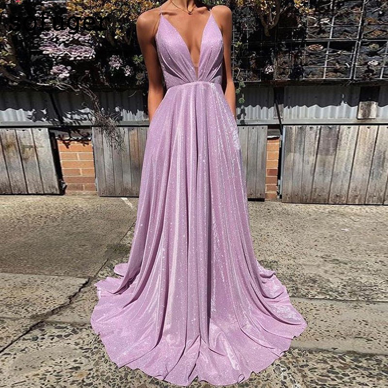 Lilac Bling Bling Sexy V Neck   Evening     Dress   Prom Vestidos De Fiesta Graduate Formal Party   Dress   Arabic Muslim Special Occasion