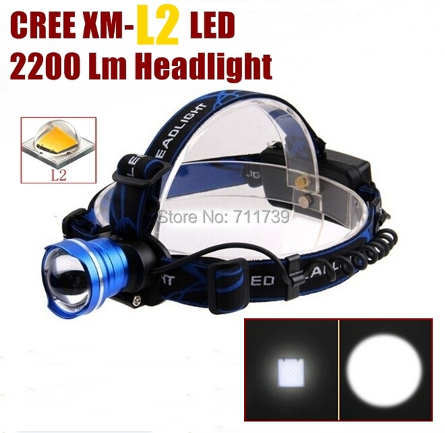 AloneFire HP87 Head light Cree XM-L2 LED 2200LM CREE led Zoom Headlight Headlamp cree light  for 1/2x18650 battery rechargeable