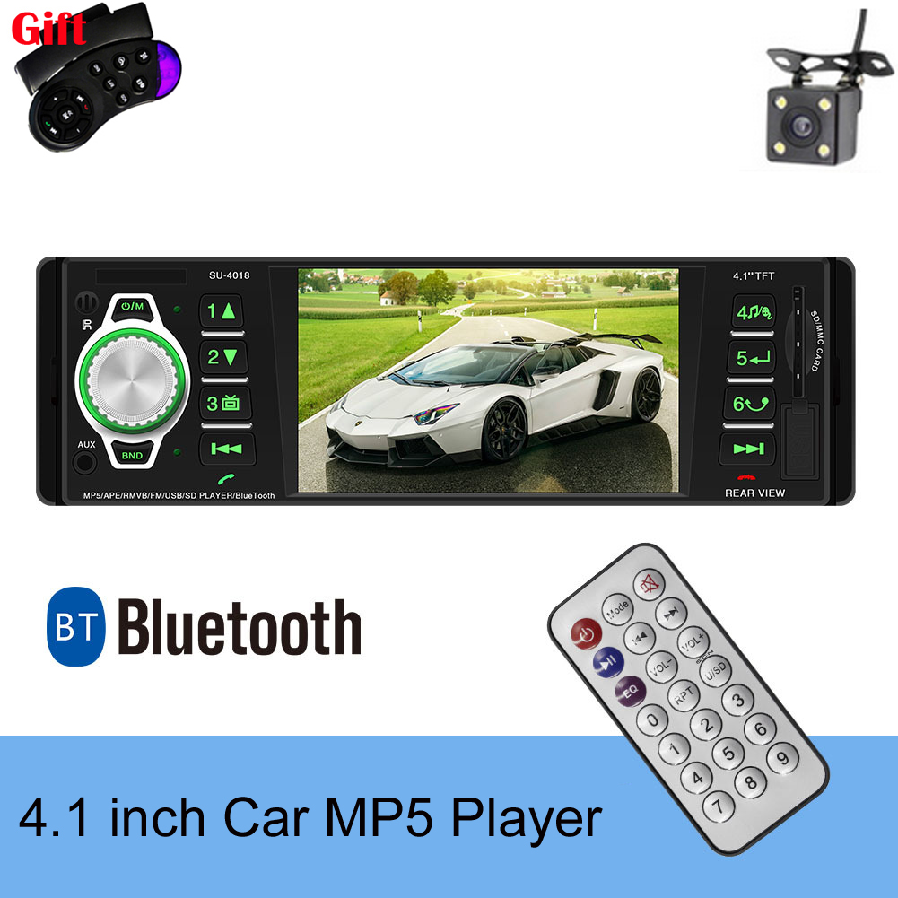 1 Din 4'' MP5 MP4 Car Radio Audio Stereo TFT Screen Multimedia Player Bluetooth With Rearview Camera Remote Control image