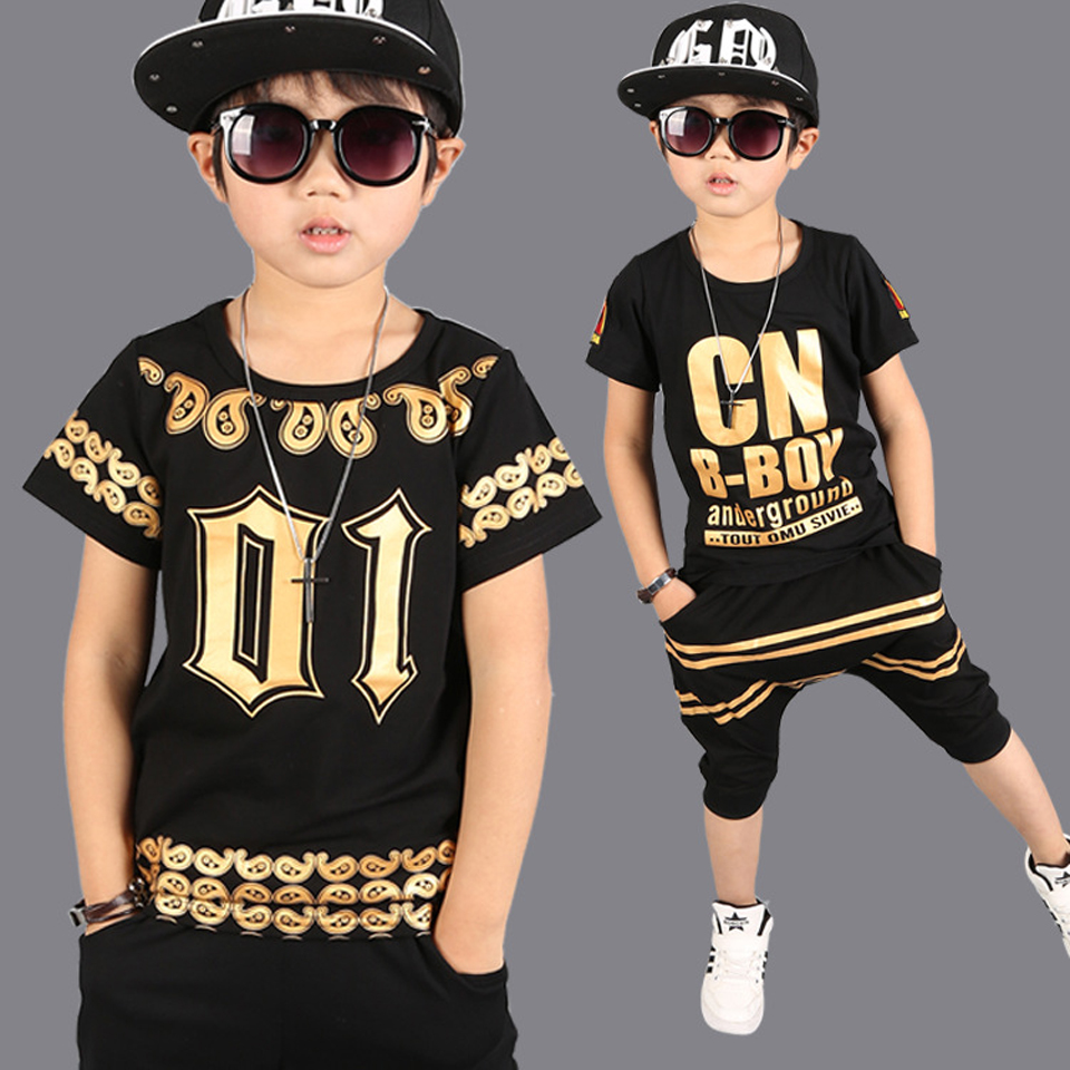 2018 New Summer Baby Children Clothing Sets Hip Hop Dance kids Sports Suit Boys Clothes Set Fashion Costume T-shirts+Shorts