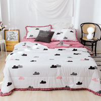 New Printed Flower Pink Air Condition Summer Quilt Comforter Bed Cover Quilting Home Textiles Suitable for Adults Kids 150x200cm