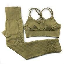 Domidofa Seamless Set Women Fitness Clothing Sportswear Woman Gym Leggings Padded Push-up Strappy Bra 2 Pcs Sports Suits Yoga