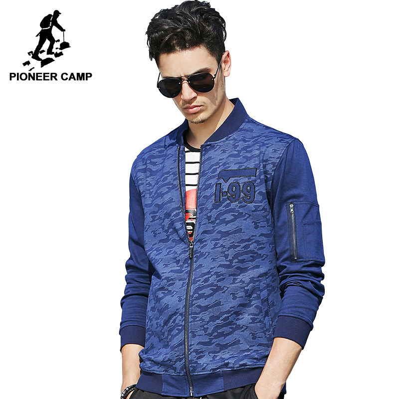 Pioneer Camp New spring autumn blue camouflage jacket men brand clothing quality elastic ...