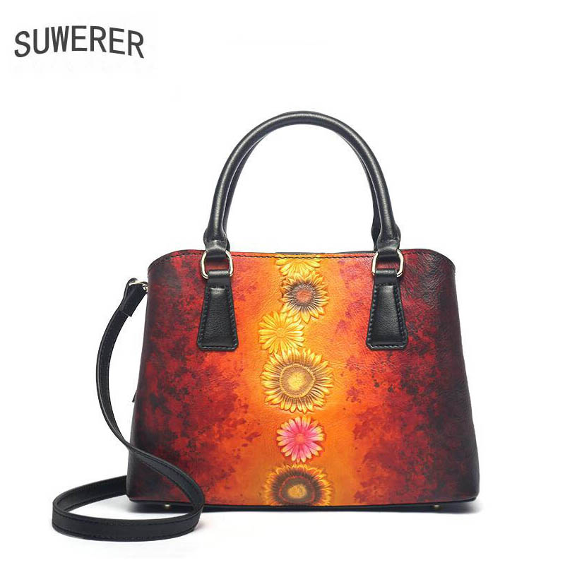 SUWERER 2019 New Women Genuine Leather bags quality luxury handbags designer Cowhide Embossed bag women leather shoulder bag