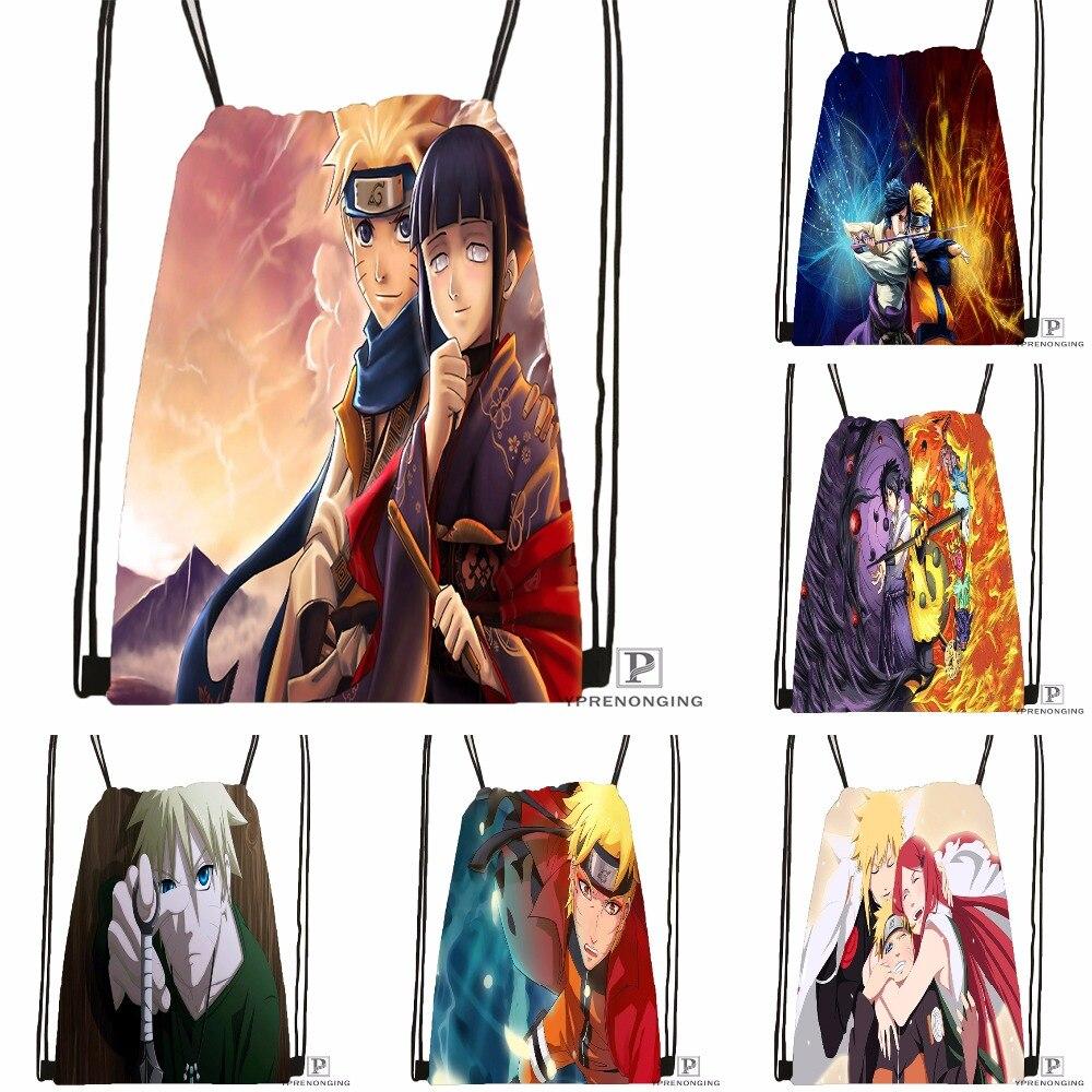 Custom Naruto Uzumaki Drawstring Backpack Bag Cute Daypack Kids Satchel (Black Back) 31x40cm#180531-04-35