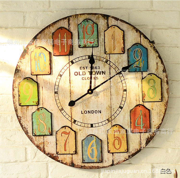 Specials! 150 yuan decorative wall clocks color digital disc surface ...