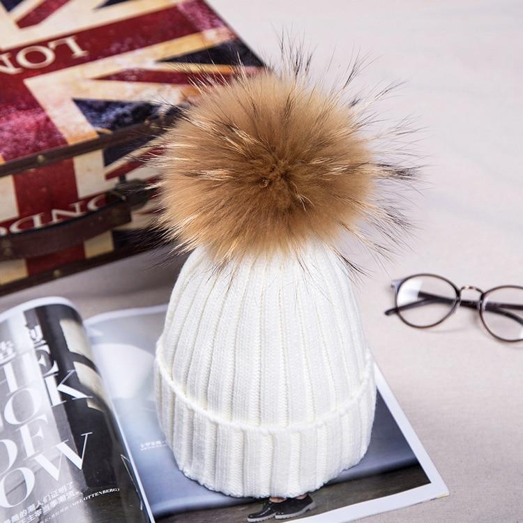 Брендовая зимняя женская шапка высокого качества, шапка бини из натурального меха енота, женские шапки с помпоном, Женская Повседневная шапка для девочек