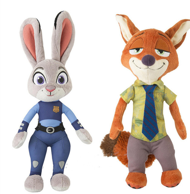 1 Set(2pcs) Zootopia Rabbit Nick Fox & Judy Hopps Stuffed