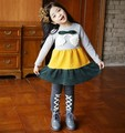 Hot sale Size100~140 autumn girls dress children clothing child striped dresses kids cherry t-shirts long sleeve t shirts