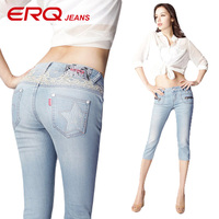 ERQ Lace Skinny Leg Jeans Woman Mid Waist Cropped Jeans Fifth Pencil Pants Female Pantalones Mujer Pantalon Jean Femme 11121