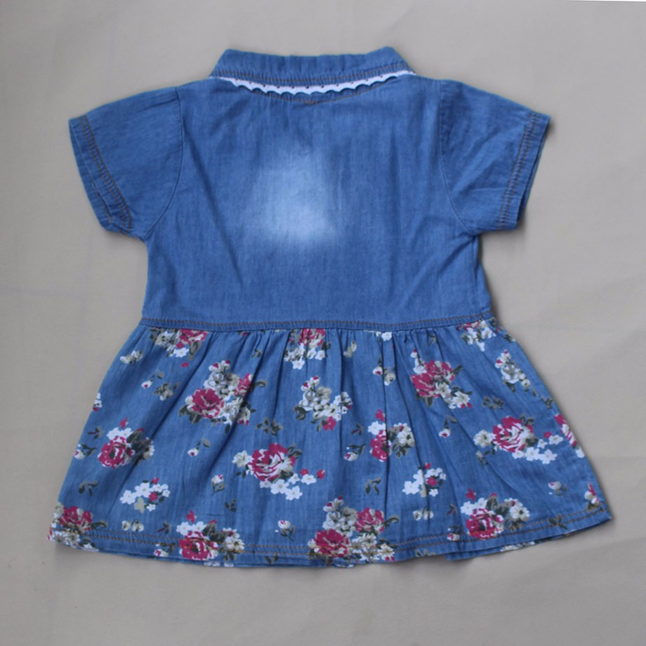 New Spring Autumn Denim Baby Girls Dress Floral Bow Infant Princess Dress Casual Short Sleeve Kids Jeans Dress Baby Girl Clothes 5