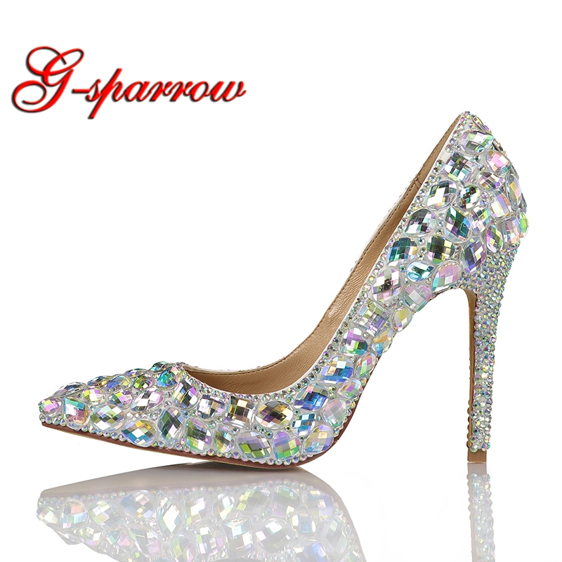 2019 Fashion Dress Shoes High Heel Pointed Toe Performance Show Shoes Gorgeous Crystal AB Wedding Bride Shoes Party Prom Pump2019 Fashion Dress Shoes High Heel Pointed Toe Performance Show Shoes Gorgeous Crystal AB Wedding Bride Shoes Party Prom Pump