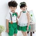 Uniformes bebé Kindergarten Rendimiento Ropa que visten Uniformes Escolares Niñas Trajes de Manga Corta + Shorts