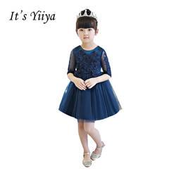 Это yiiya модные Бисер Половина рукава для девочек в цветочек платья Темно-синие принцессы бальное платье с круглым вырезом платье для