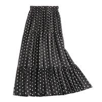 2019 New Summer Fashion 2 Layers Tulle Skirts Polka Dot Women's Skirt Elastic High Waist Pleated Elegant Female Long Skirt Saias