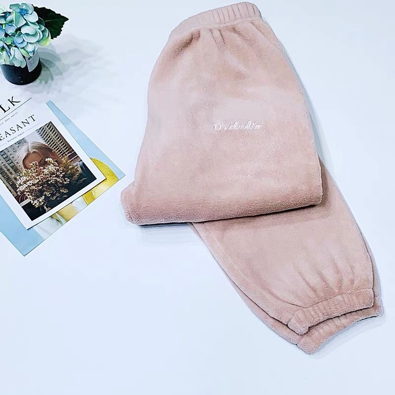 Зимние фланелевые длинные штаны для сна; Толстая Теплая Повседневная Домашняя одежда; повседневные пижамные брюки; мягкие свободные брюки; одежда для сна - Цвет: Pants-Pink