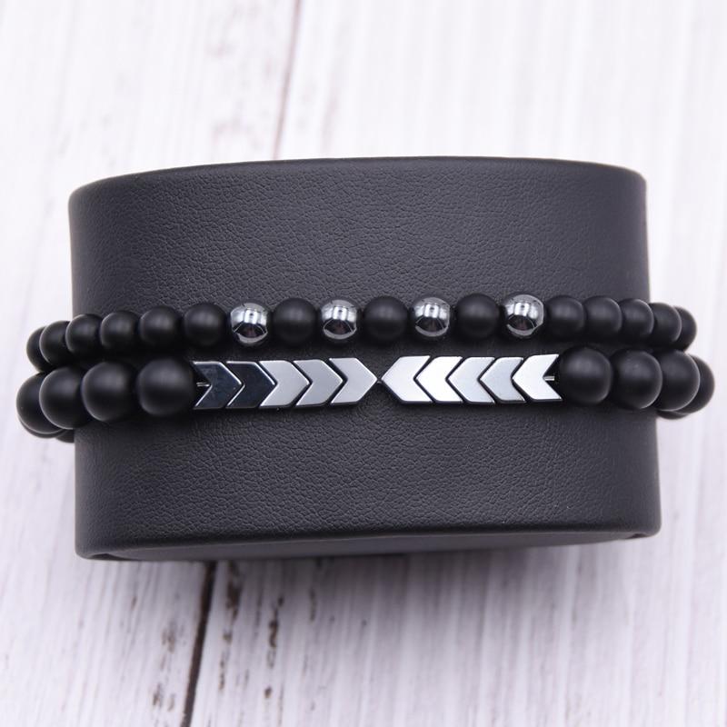 Men's Set Hematite Bracelets European Mens Brading Macrame Bangle Punk Hiphop Cool Men Jewelry Gift Pulseira Masculina