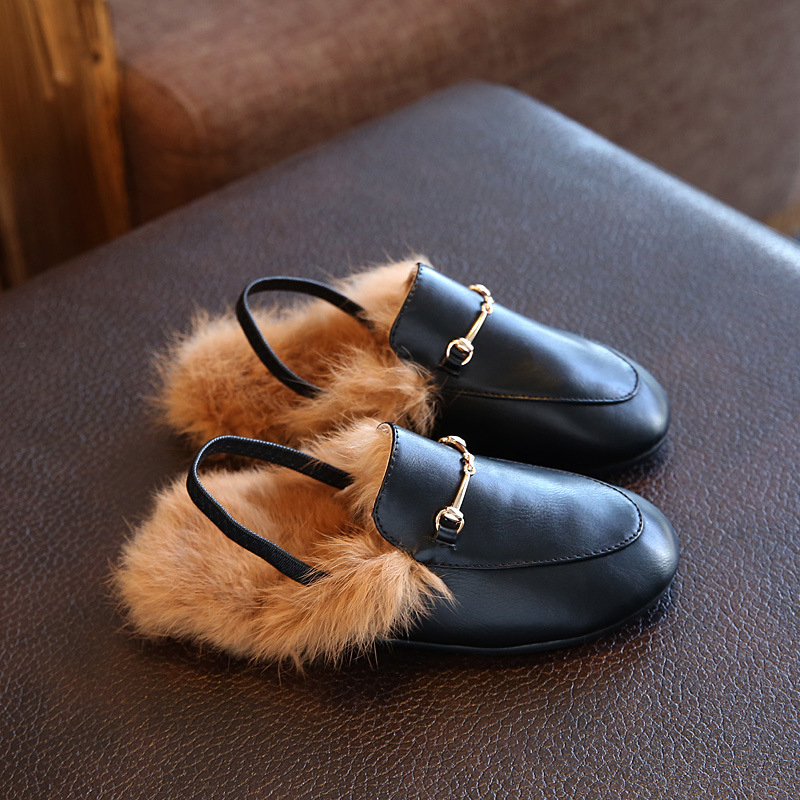 2018 Winter New Childrens Shoes Casual Rabbit Hair Babys Leather Shoes Slippers Fashion Princess Boys Girls Behalf Warm Flats2018 Winter New Childrens Shoes Casual Rabbit Hair Babys Leather Shoes Slippers Fashion Princess Boys Girls Behalf Warm Flats