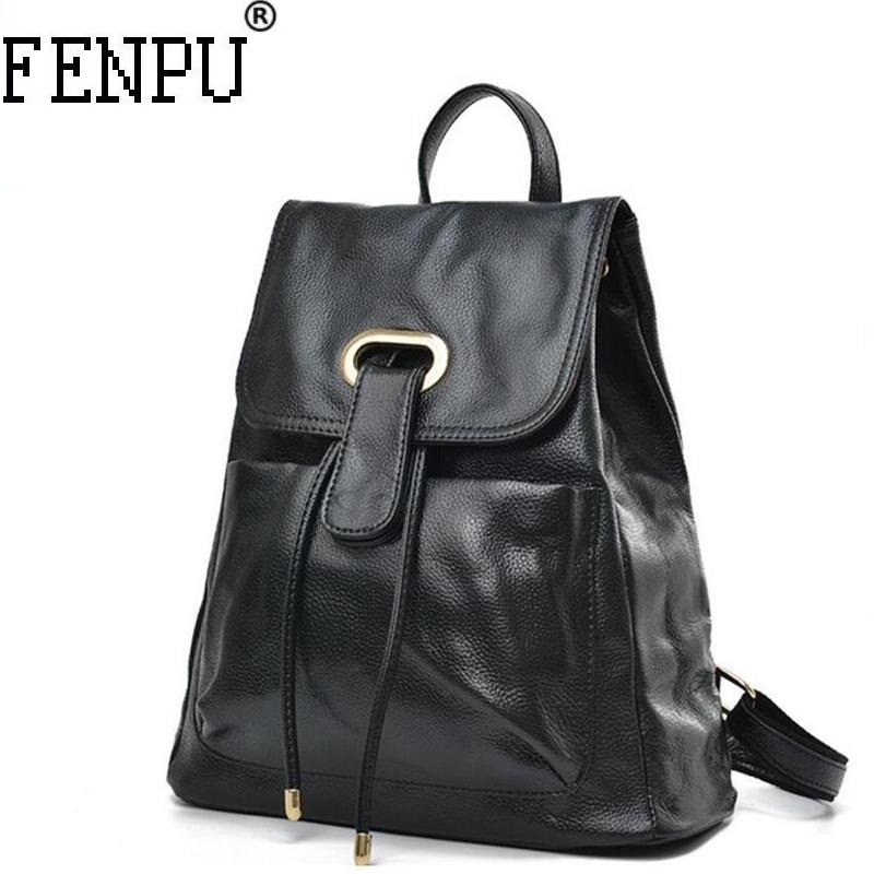 2018 Women Backpack Genuine Leather Mochila Escolar School Bags For Teenagers Girls Top-Handle Large Capacity Student Package 2018 new backpack school bags for teenagers girls bag women backpack top handle backpacks pu leather mochila escolar travel bags