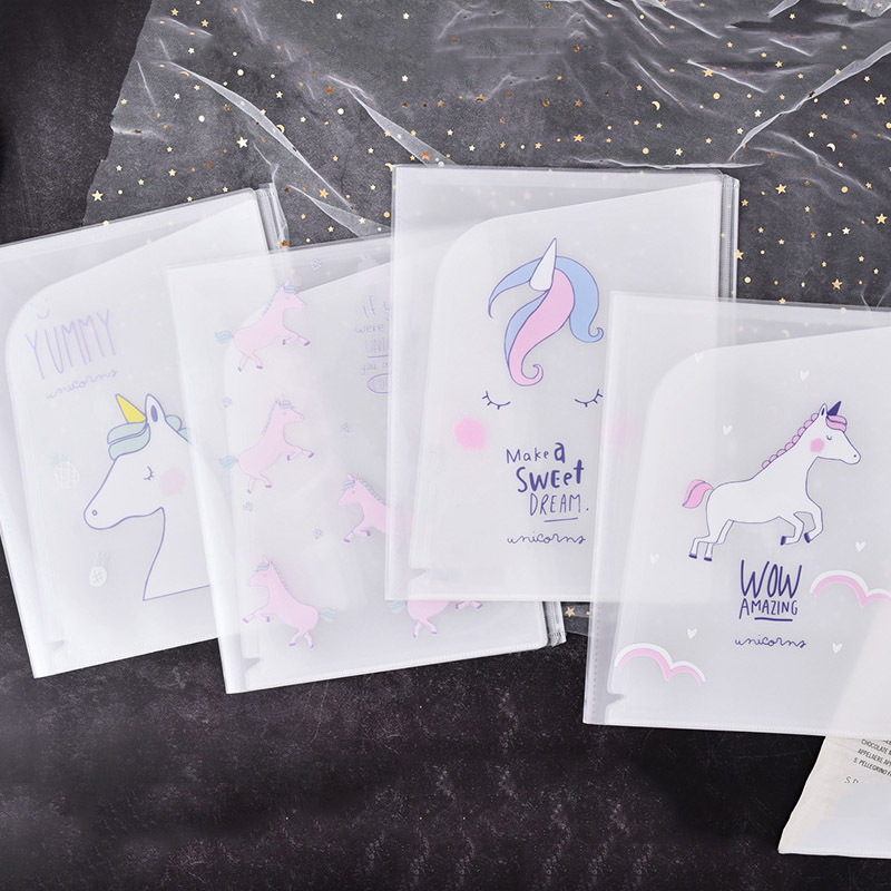Cute Unicorn Transparent PP Zipper Document Holder Flamingo Office Folder Storage Pouch Package For A4 Paper File Folder