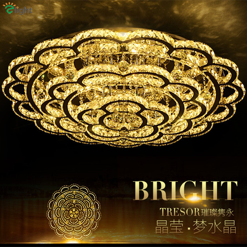 Modern Plum Blossom Led Ceiling Chandeliers Lamp Lustre Crystal Chrome Metal Bedroom Led Chandelier Lighting Dimmable