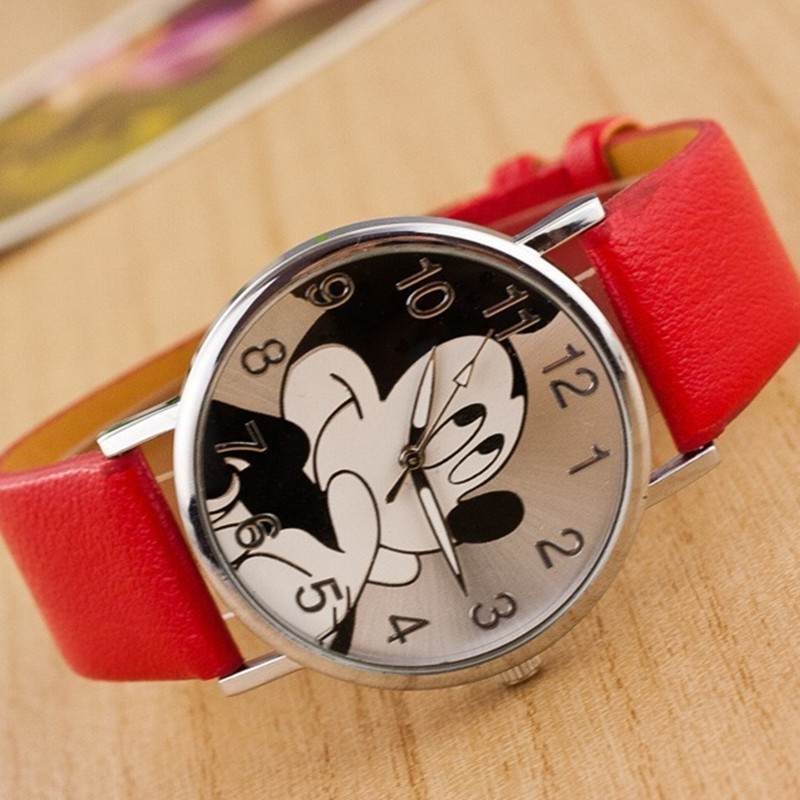 Reloj Mujer Hot Sale New Brand Mickey Mouse Women's Watch Montres Girl Boy Casual Leather Cartoon Quartz Watch Relogio Feminino