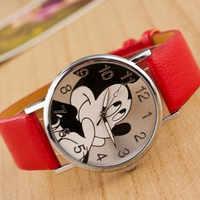 reloj mujer Hot Sale New Brand Mickey Mouse Women's Watch montres Girl Boy Casual Leather Cartoon Quartz Watch Relogio Feminino