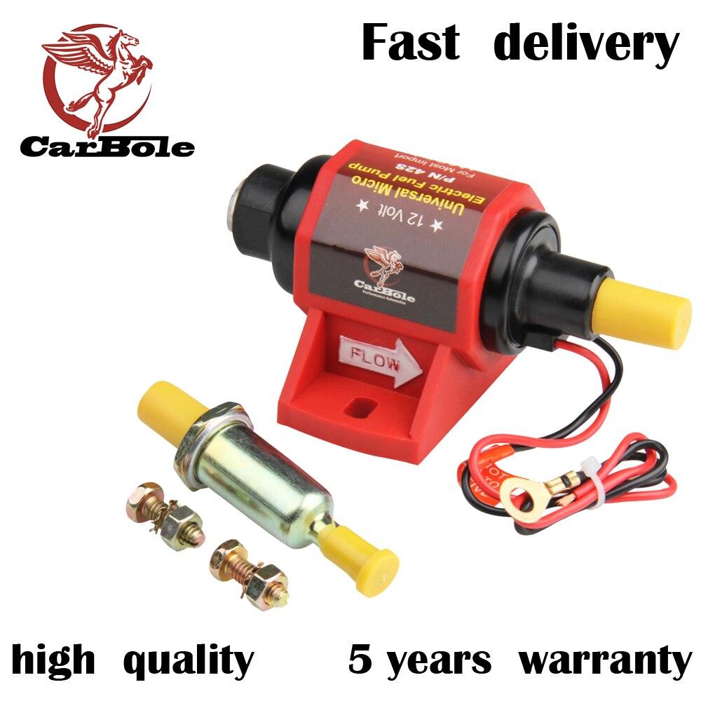 CARBOLE 12V Universal Micro Electric Gasoline Fuel Pump Applications 42 GPH 2-3.5PSI Nibbler