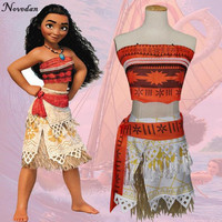 Vaiana Moana Party Dress Cosplay Costume Kids Girls Fantasia Princess Moana Birthday Halloween Costume For Kids